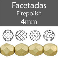 Cristal Checo - Facetada - 4mm - Gold Satin (100 Uds.)