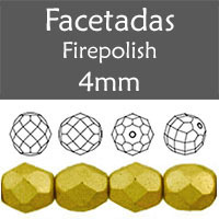 Cristal Checo - Facetada - 4mm - Aztec Gold Satin (100 Uds.)