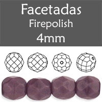 Cristal Checo - Facetada - 4mm - Opaque Purple (100 Uds.)