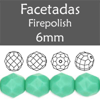 Cristal Checo - Facetada - 6mm - Green Turquoise (25 Uds.)