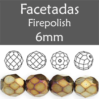Cristal Checo - Facetada - 6mm - Iris Brown (25 Uds.)