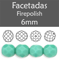 Cristal Checo - Facetada - 6mm - Opaque Turquoise (25 Uds.)
