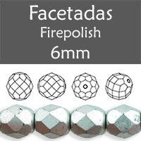 Cristal Checo - Facetada - 6mm - Matte Metallic Silver (25 Uds.)