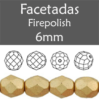 Cristal Checo - Facetada - 6mm - Matte Metallic Flax (25 Uds.)
