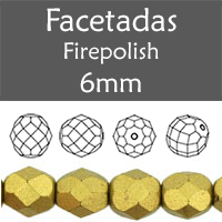 Cristal Checo - Facetada - 6mm - Matte Metallic Aztec Gold (25 Uds.)