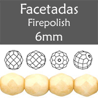 Cristal Checo - Facetada - 6mm - Opaque Luster Champagne (25 Uds.)