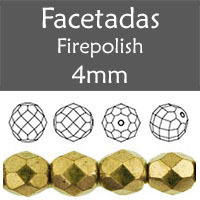 Cristal Checo - Facetada - 4mm - Gold Bronze (100 Uds.)