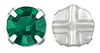Cristal Checo Engastado - Extra Chaton Roses - ss30 - Emerald & Silver (6 Uds.)