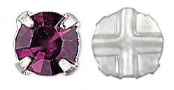 Cristal Checo Engastado - Extra Chaton Roses - ss30 - Amethyst & Silver (6 Uds.)