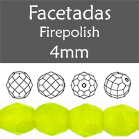 Cristal Checo - Facetada - 4mm - Chartreuse (100 Uds.)