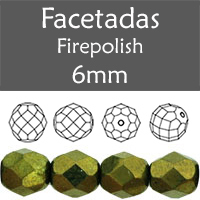 Cristal Checo - Facetada - 6mm - Metallic Green (25 Uds.)