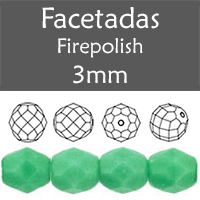 Cristal Checo - Facetada - 3mm - Opaque Green Turquoise (100 Uds.)