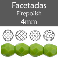 Cristal Checo - Facetada - 4mm - Opaque Olive (100 Uds.)