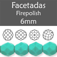 Cristal Checo - Facetada - 6mm - Persian Turquoise (25 Uds.)
