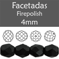 Cristal Checo - Facetada - 4mm - Jet (100 Uds.)