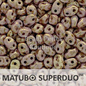 Cristal Checo - Superduo - 2,5x5mm - Lila Bronze Marbled (10 gr.)