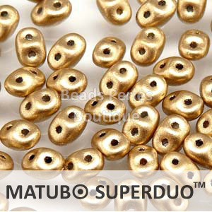 Cristal Checo - Superduo - 2,5x5mm - Gold Satin (10 gr.)