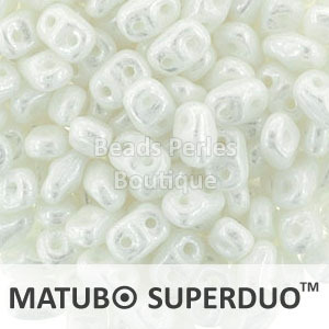 Cristal Checo - Superduo - 2,5x5mm - Pearl White (10 gr.)