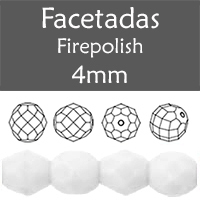 Cristal Checo - Facetada - 4mm - Chalk White (100 Uds.)