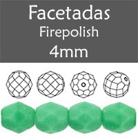 Cristal Checo - Facetada - 4mm - Opaque Green Turquoise (100 Uds.)