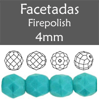 Cristal Checo - Facetada - 4mm - Opaque Blue Turquoise (100 Uds.)