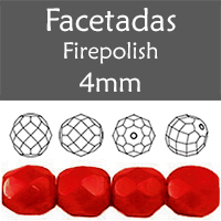 Cristal Checo - Facetada - 4mm - Opaque Red (100 Uds.)