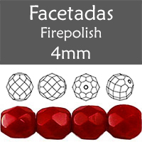 Cristal Checo - Facetada - 4mm - Opaque Garnet (100 Uds.)