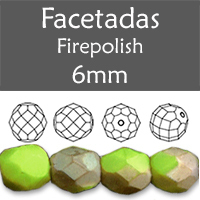 Cristal Checo - Facetada - 6mm - Matte Opaque Olive Jade Celsian (25 Uds.)