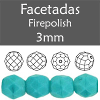 Cristal Checo - Facetada - 3mm - Opaque Blue Turquoise (100 Uds.)