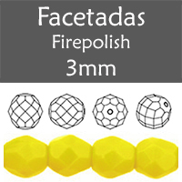 Cristal Checo - Facetada - 3mm - Opaque Yellow (100 Uds.)
