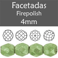 Cristal Checo - Facetada - 4mm - Marbled Prairie Green (100 Uds.)