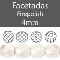 Cristal Checo - Facetada - 4mm - Satin Pearl Snow (100 Uds.)