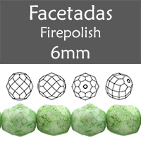 Cristal Checo - Facetada - 6mm - Marbled Opaque Prairie Green (25 Uds.)