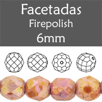 Cristal Checo - Facetada - 6mm - Chalk Bronze Lumi (25 Uds.)