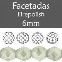 Cristal Checo - Facetada - 6mm - Opaque Grey White Luster (25 Uds.)