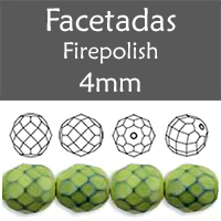 Cristal Checo - Facetada - 4mm - Snake Prairie Green (100 Uds.)