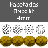 Cristal Checo - Facetada - 4mm - Snake Golden (100 Uds.)