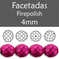 Cristal Checo - Facetada - 4mm - Snake Fuchsia (100 Uds.)