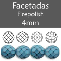 Cristal Checo - Facetada - 4mm - Snake Montana Blue (100 Uds.)
