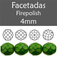 Cristal Checo - Facetada - 4mm - Snake Olivine (100 Uds.)