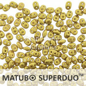 Cristal Checo - Superduo - 2,5x5mm - Aztec Gold Satin (10 gr.)