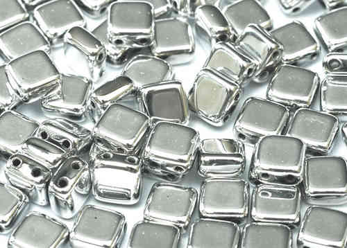 Cristal Checo - Tile - 6x6mm - Silver (50 Uds.)