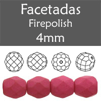 Cristal Checo - Facetada - 4mm - Silk Misty Fuchsia (100 Uds.)