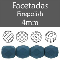 Cristal Checo - Facetada - 4mm - Silk Dark Teal (100 Uds.)