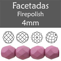 Cristal Checo - Facetada - 4mm - Silk Dusty Mauve (100 Uds.)