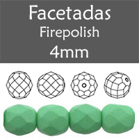 Cristal Checo - Facetada - 4mm - Silk Mint Turquoise (100 Uds.)