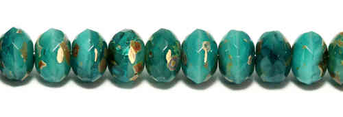 Cristal Checo - Gemstone Donut - 5x8 mm - Teal Dreams Picasso (24 Uds.)