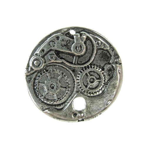 Fornitura - Colgante Steampunk - 22x22mm - Plata Antigua (2 Uds.)
