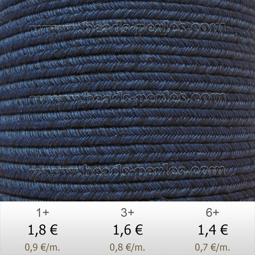 Textil - Soutache DENIM-JEANS - 3mm - Dyed Foam (2 metros)
