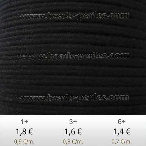 Textil - Soutache DENIM-JEANS - 3mm - Black (2 metros)